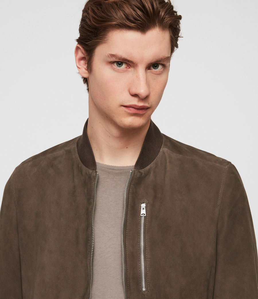 Mens Kemble Suede Bomber Jacket (gravel_grey) - Image 3
