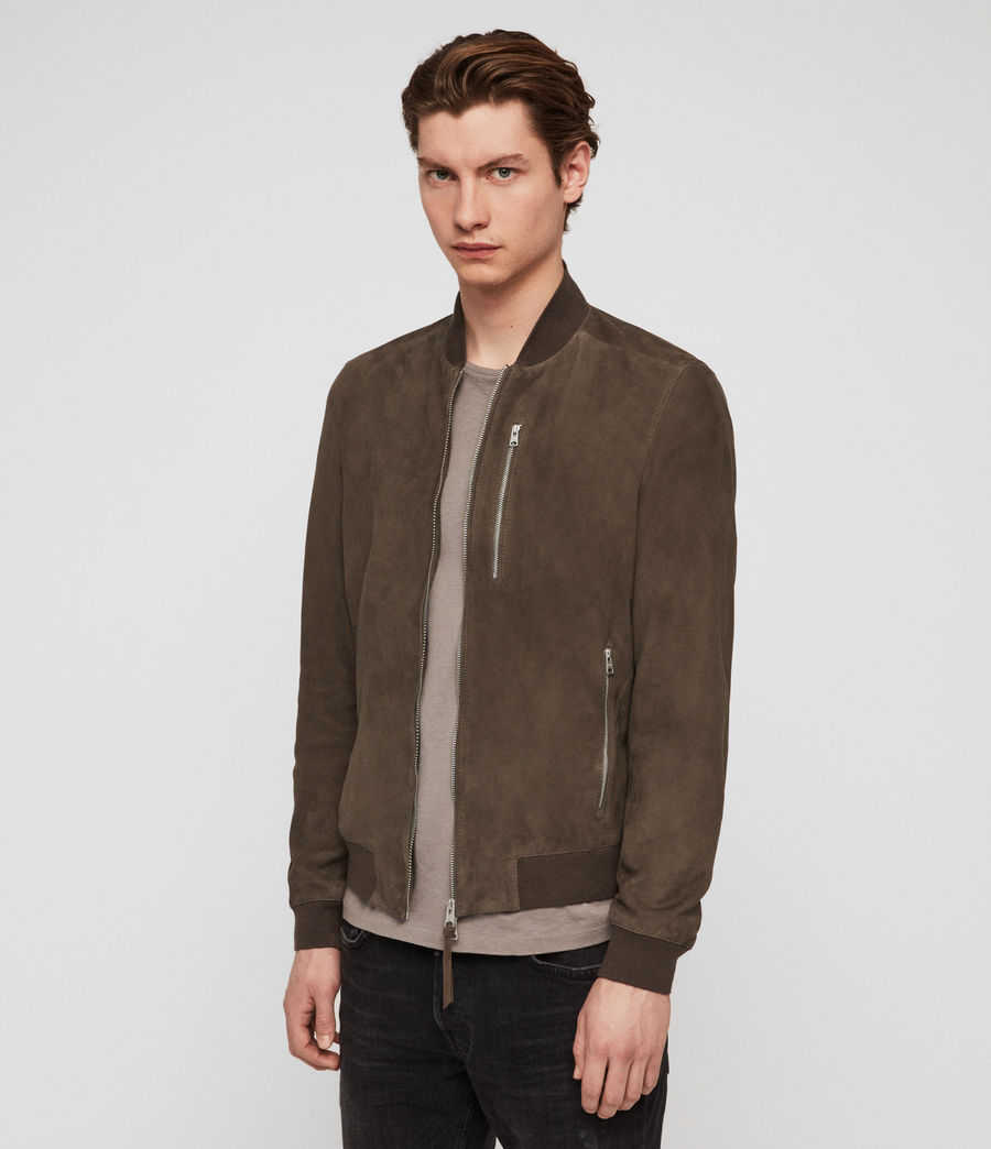 Mens Kemble Suede Bomber Jacket (gravel_grey) - Image 4