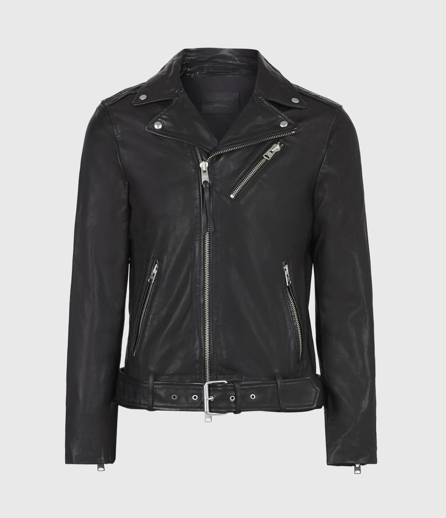 Mens Rigg Leather Biker Jacket (black) - Image 2