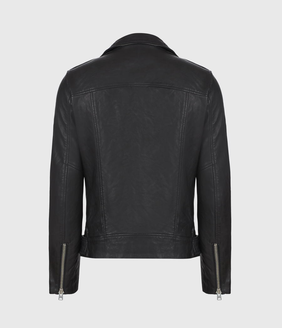 Mens Rigg Leather Biker Jacket (black) - Image 3