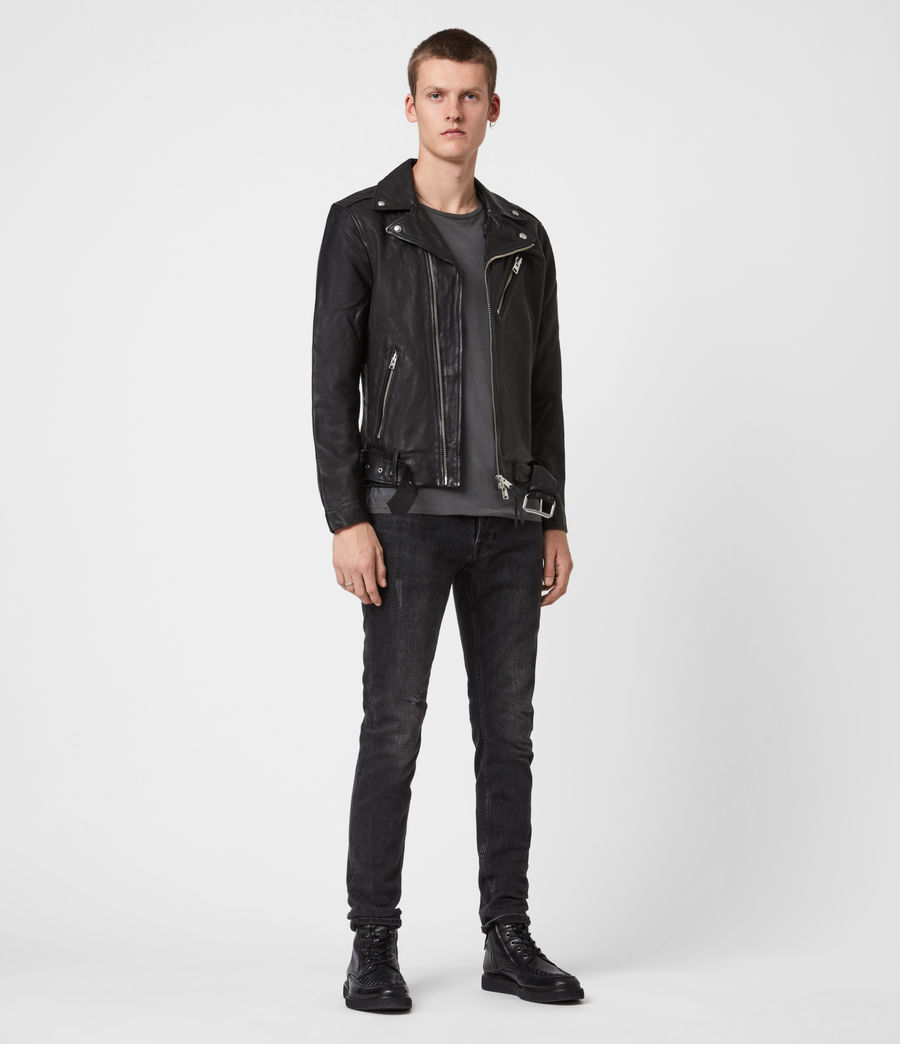 Mens Rigg Leather Biker Jacket (black) - Image 4