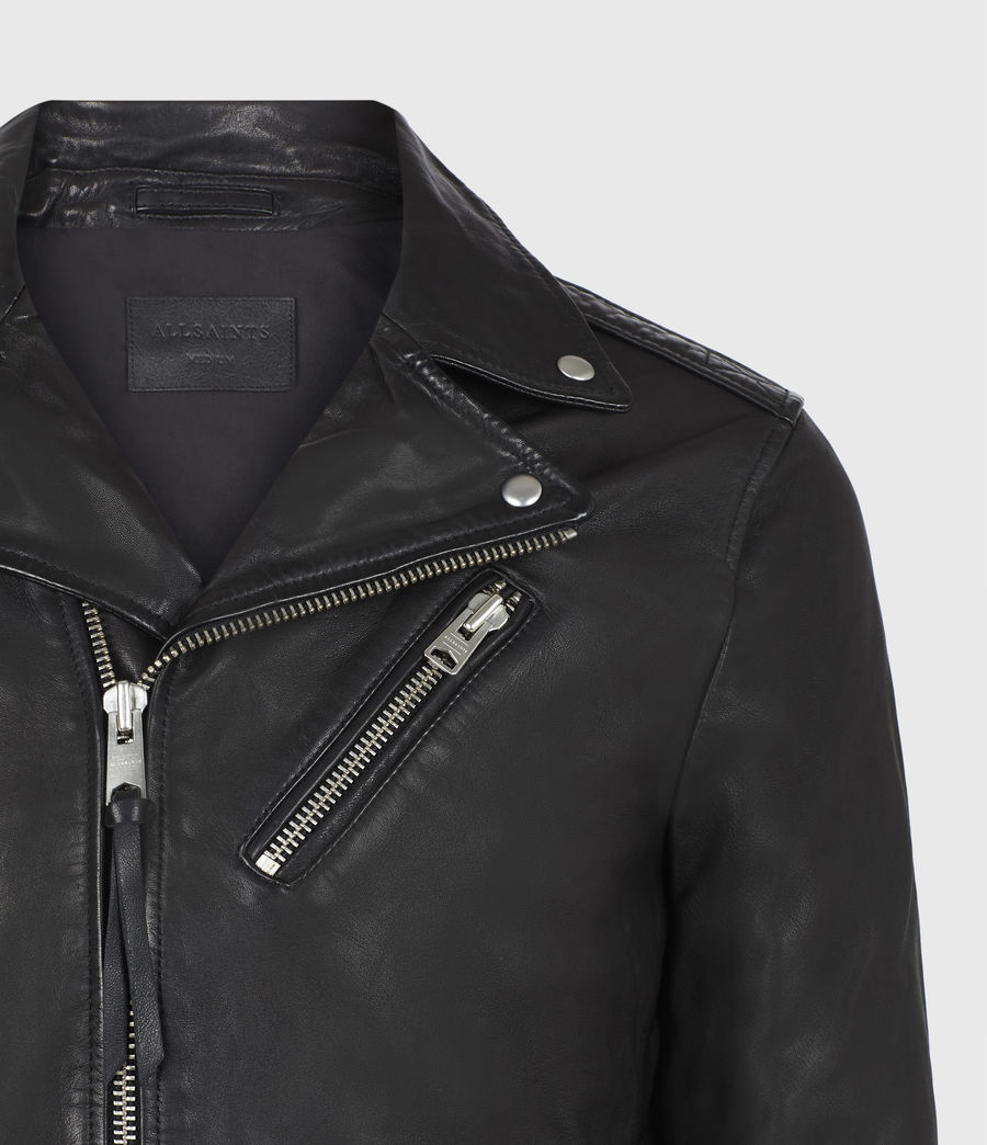 Mens Rigg Leather Biker Jacket (black) - Image 5