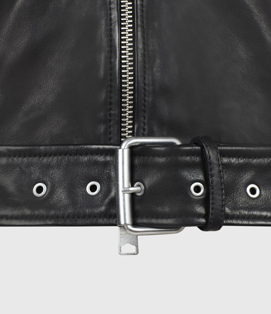 Men's Rigg Leather Biker Jacket (black) - Image 6