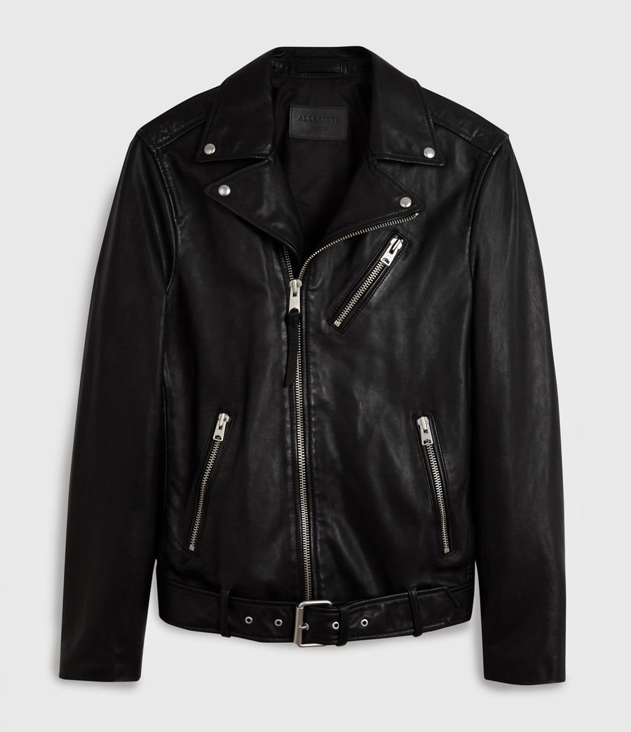 Men's Rigg Leather Biker Jacket (black) - Image 7