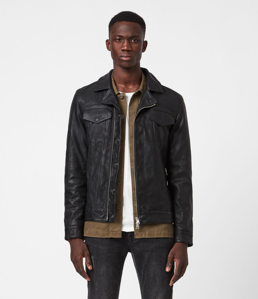 Mens Brandt Leather Jacket (black) - Image 1