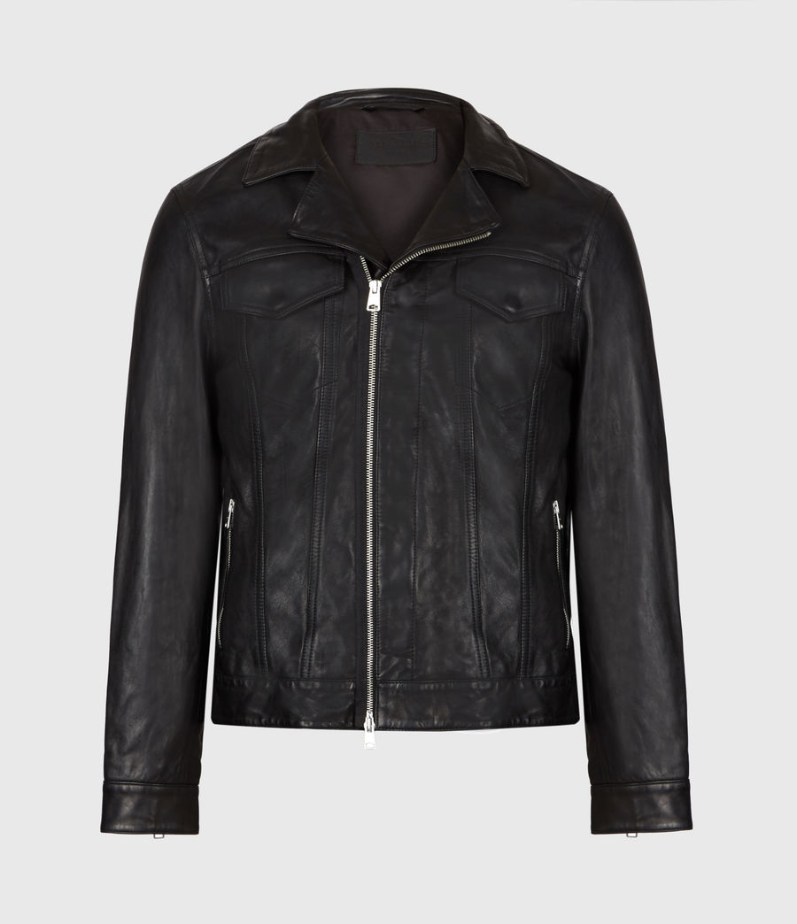 Mens Brandt Leather Jacket (black) - Image 2