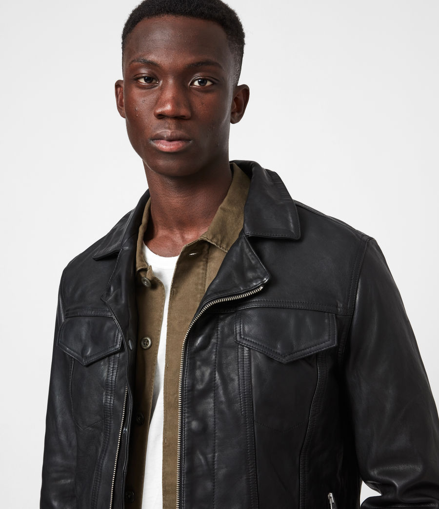 Mens Brandt Leather Jacket (black) - Image 4