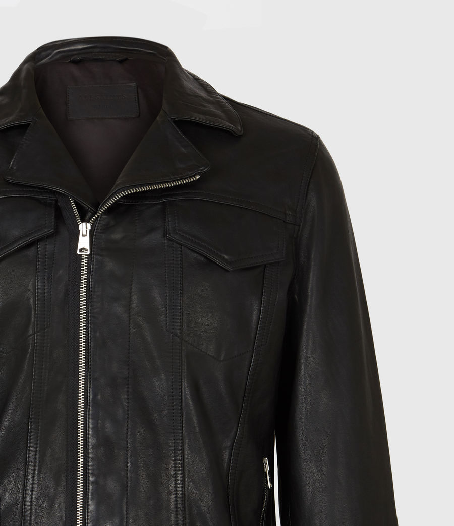 Mens Brandt Leather Jacket (black) - Image 5