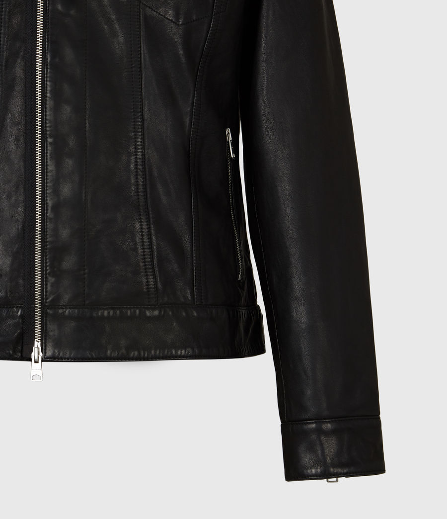 Mens Brandt Leather Jacket (black) - Image 6
