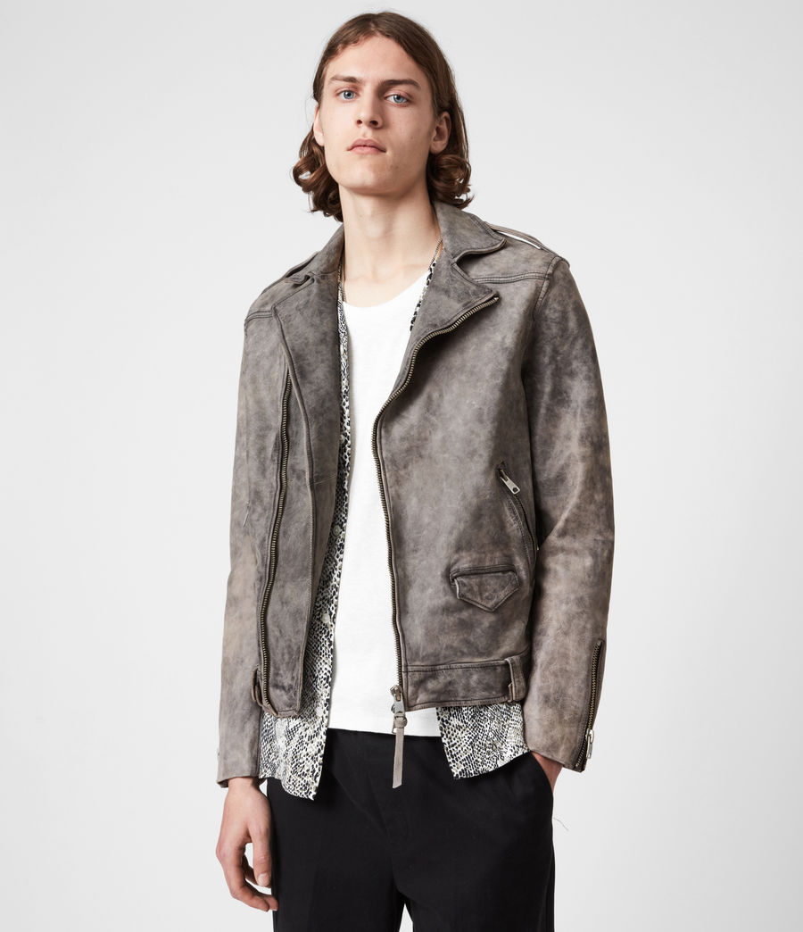 Mens Antro Leather Biker Jacket (indigo) - Image 1