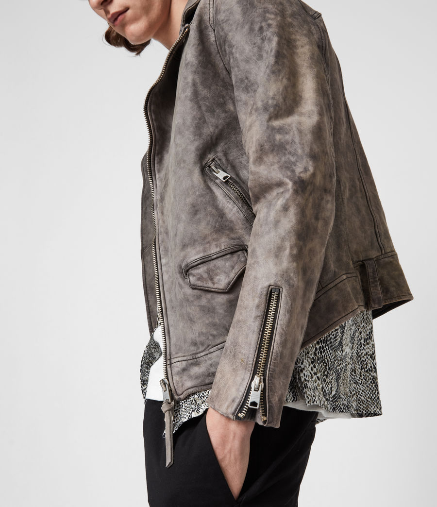 Mens Antro Leather Biker Jacket (indigo) - Image 4