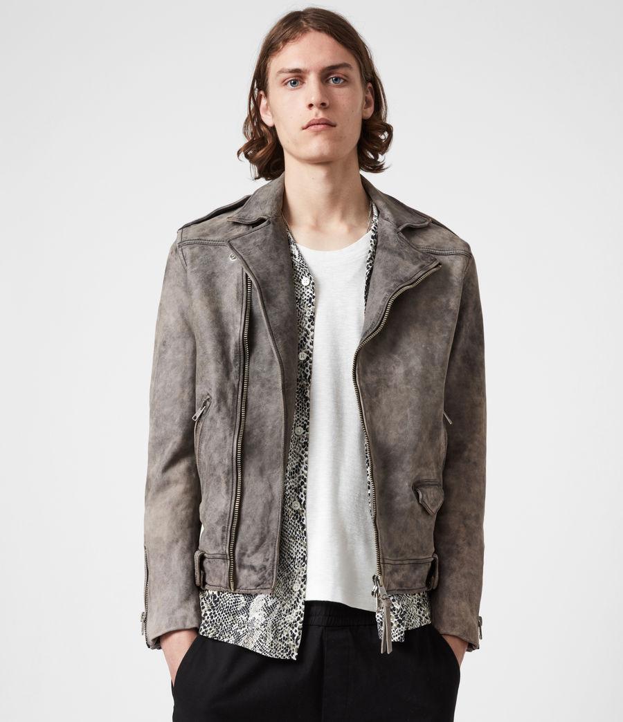 Mens Antro Leather Biker Jacket (indigo) - Image 8