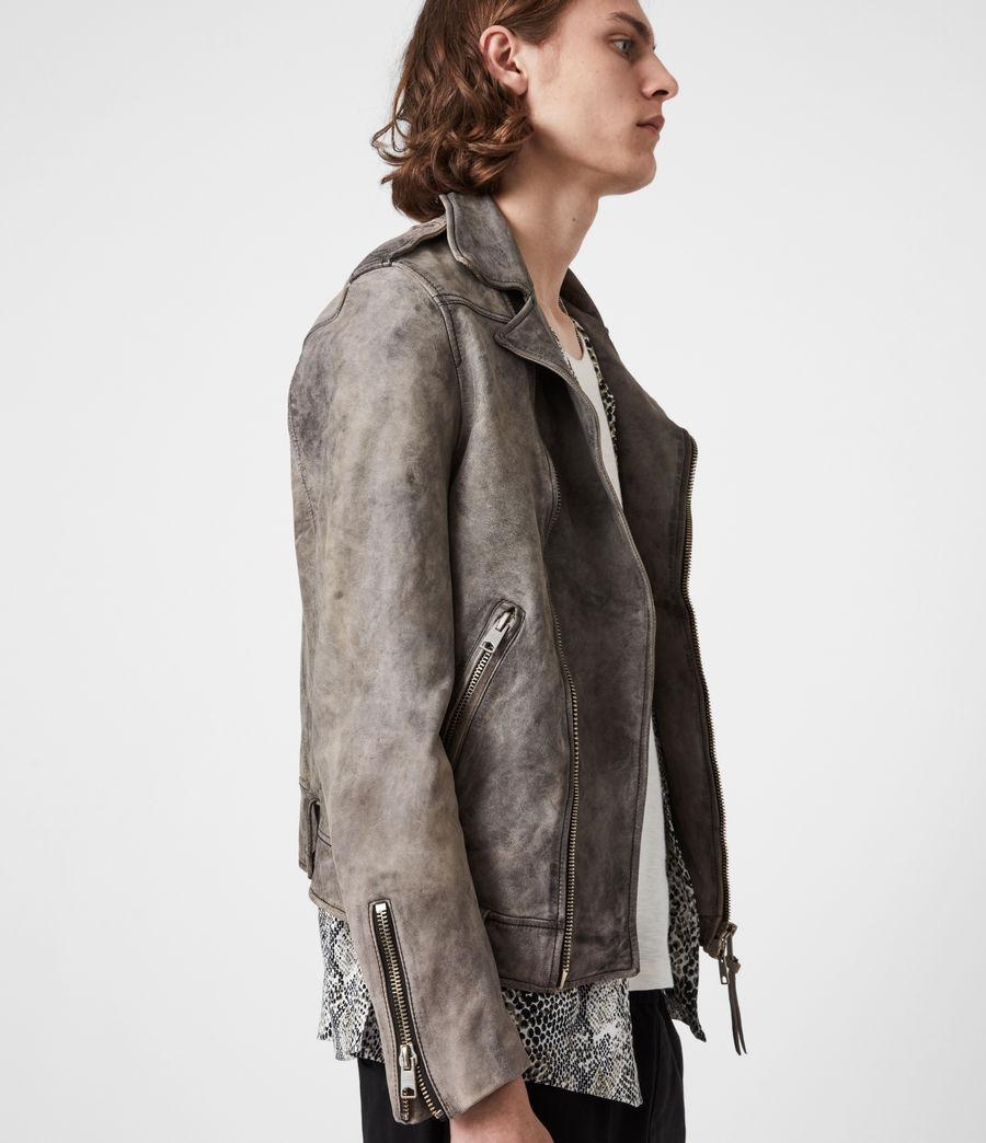 Mens Antro Leather Biker Jacket (indigo) - Image 9