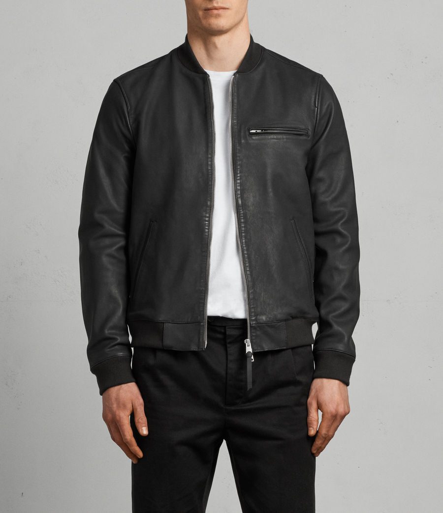 Mens Ellison Leather Bomber Jacket (washed_black) - Image 1