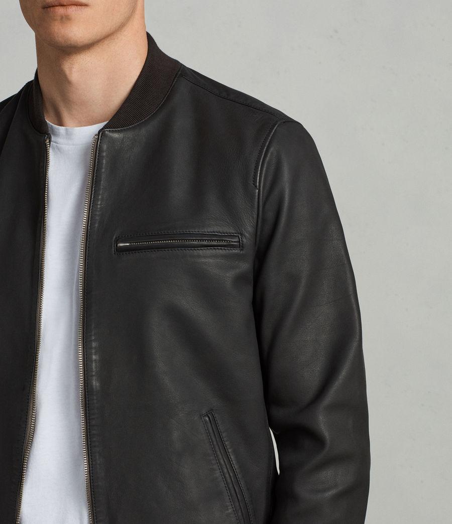 Mens Ellison Leather Bomber Jacket (washed_black) - Image 2