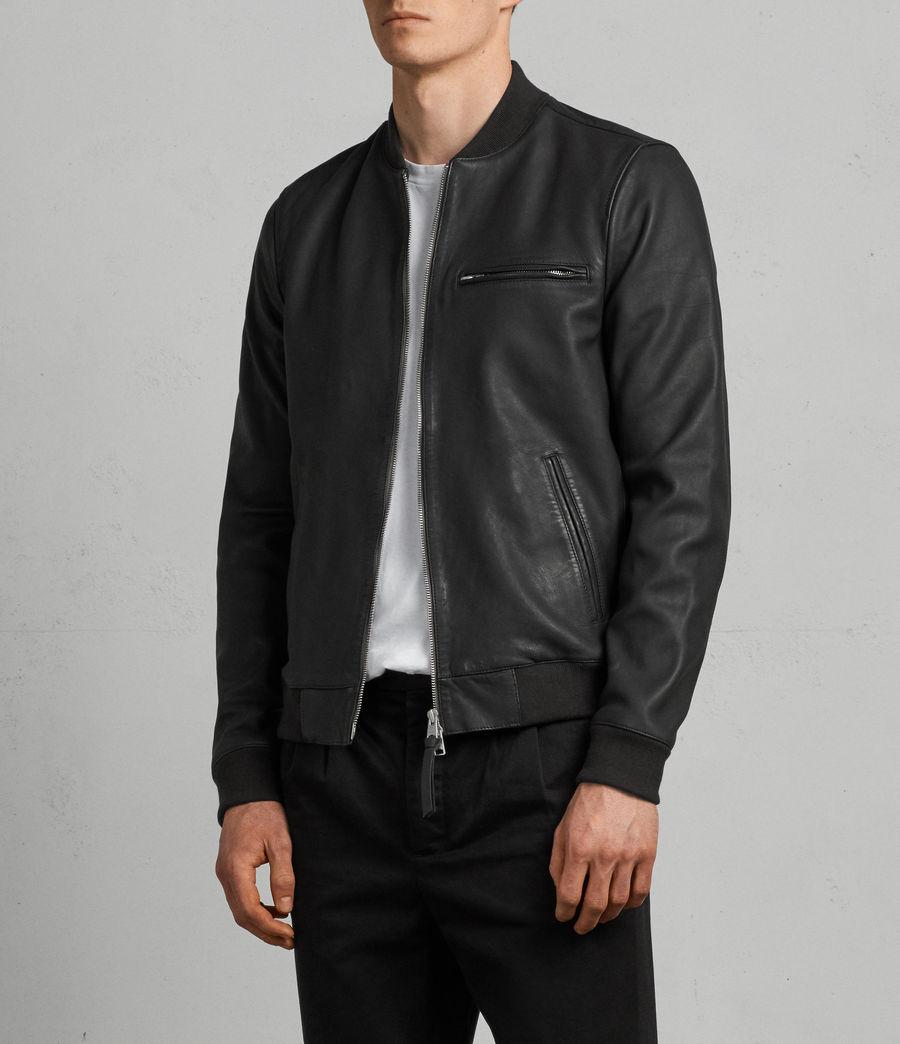 Men's Ellison Leather Bomber Jacket (washed_black) - Image 3