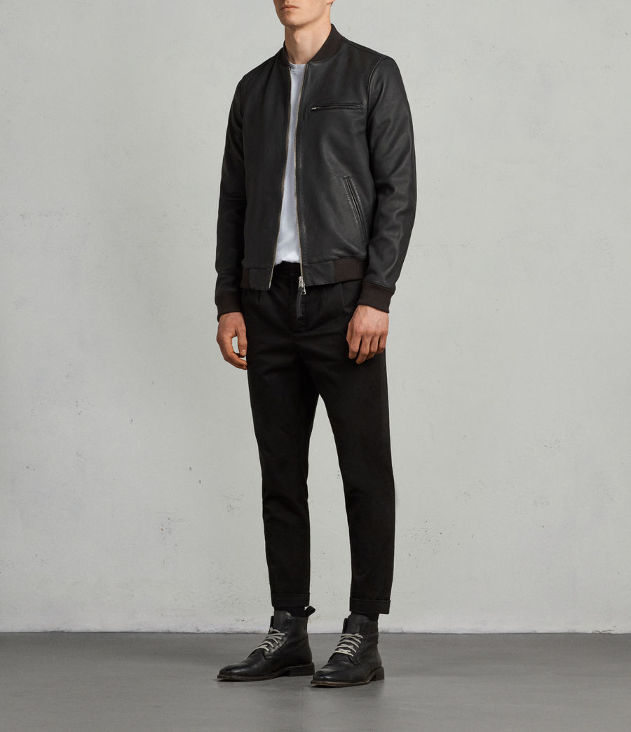 Mens Ellison Leather Bomber Jacket (washed_black) - Image 4