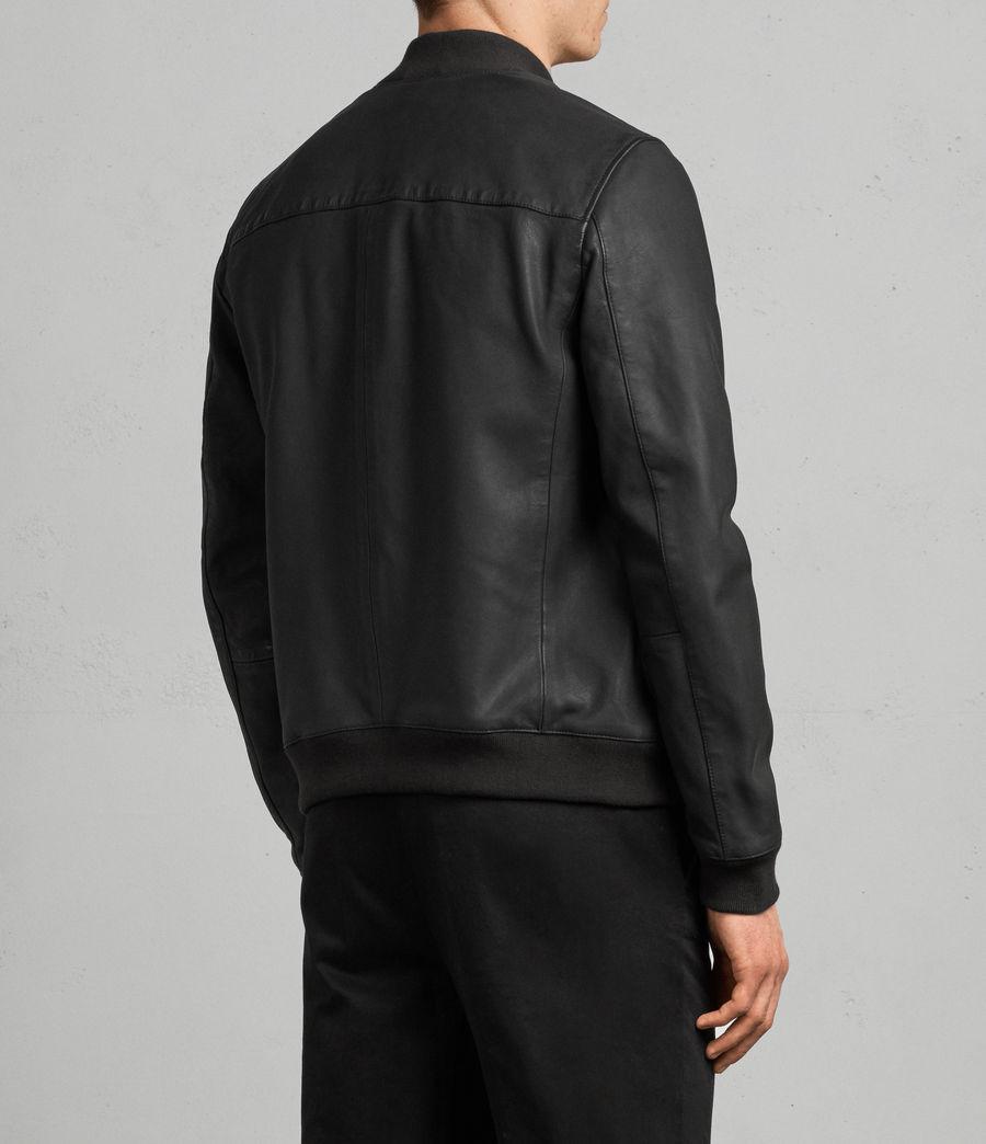 Men's Ellison Leather Bomber Jacket (washed_black) - Image 5