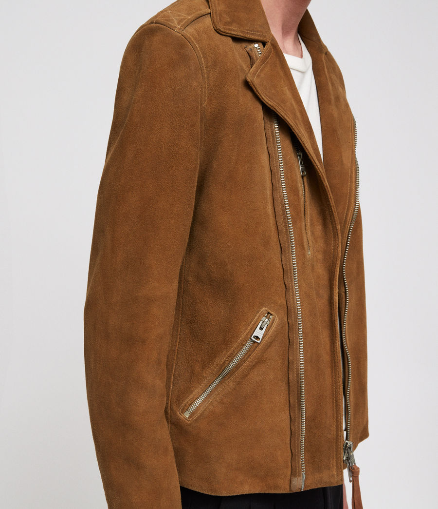 Mens Judd Leather Biker Jacket (tan_brown) - Image 2