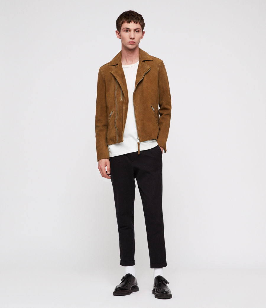 Men's Judd Leather Biker Jacket (tan_brown) - Image 3