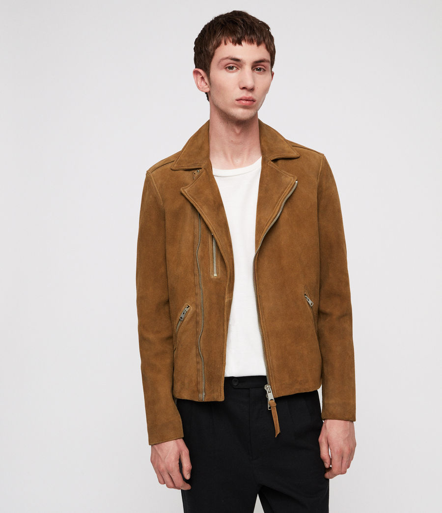 Men's Judd Leather Biker Jacket (tan_brown) - Image 4