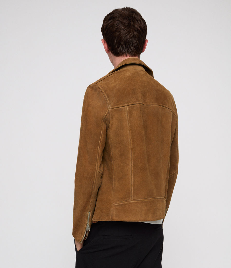 Mens Judd Leather Biker Jacket (tan_brown) - Image 5
