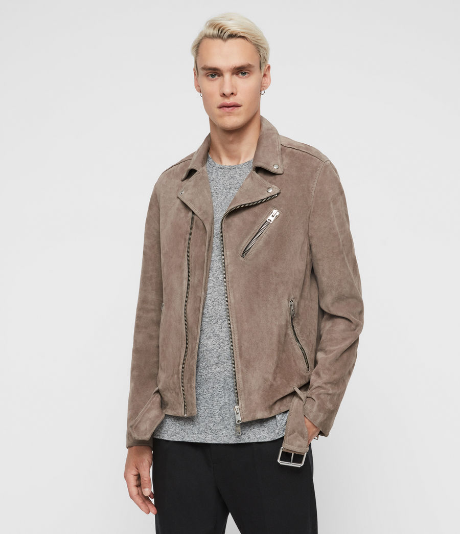 Men's Rigg Suede Biker Jacket (mink_grey) - Image 1