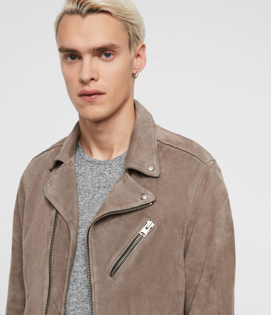 Men's Rigg Suede Biker Jacket (mink_grey) - Image 2