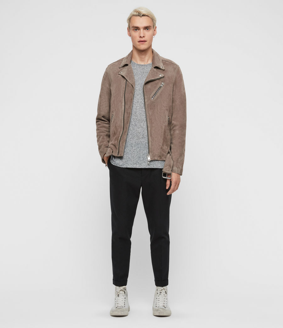 Men's Rigg Suede Biker Jacket (mink_grey) - Image 3