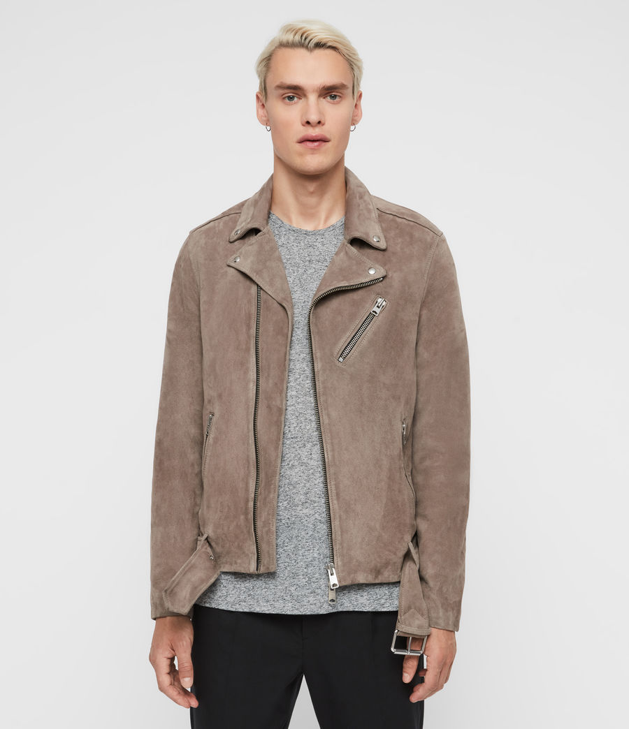 Men's Rigg Suede Biker Jacket (mink_grey) - Image 4