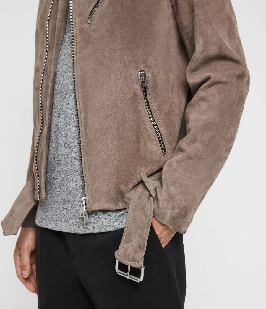 Men's Rigg Suede Biker Jacket (mink_grey) - Image 6