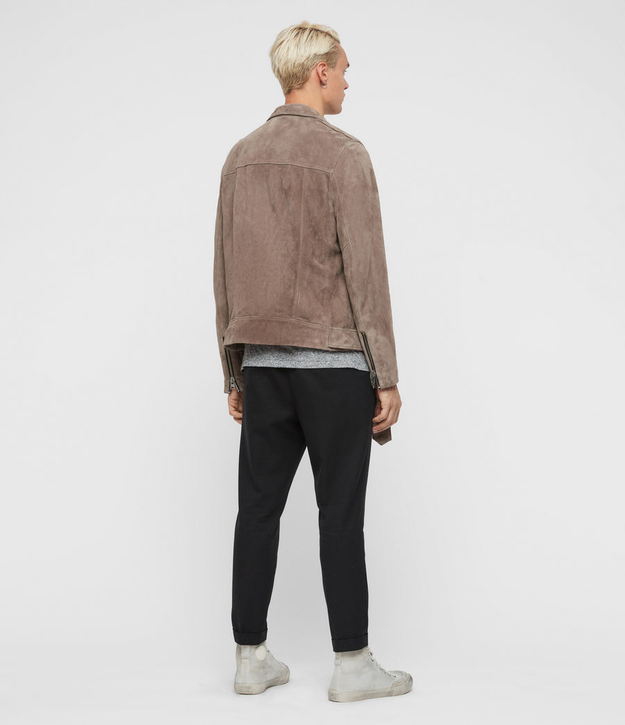 Men's Rigg Suede Biker Jacket (mink_grey) - Image 7