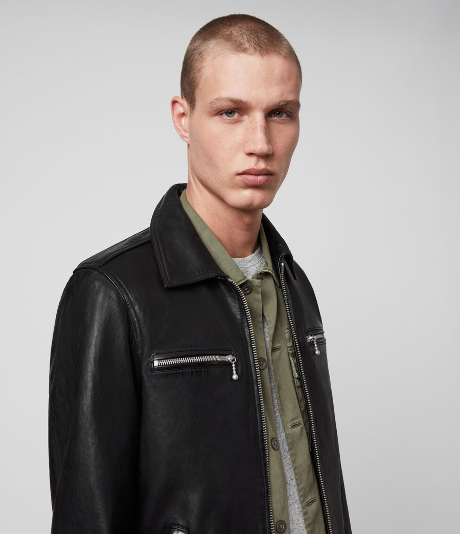 Men's Maya Leather Jacket (black) - Image 2