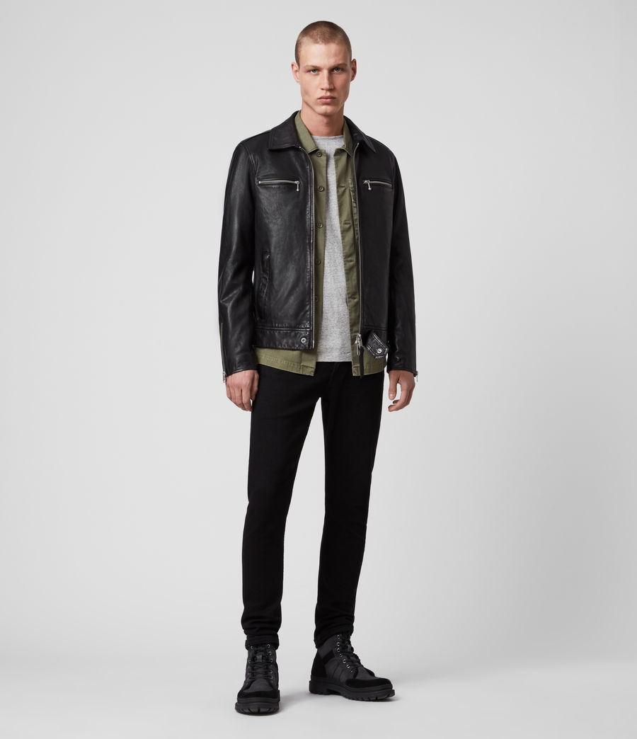 Men's Maya Leather Jacket (black) - Image 3