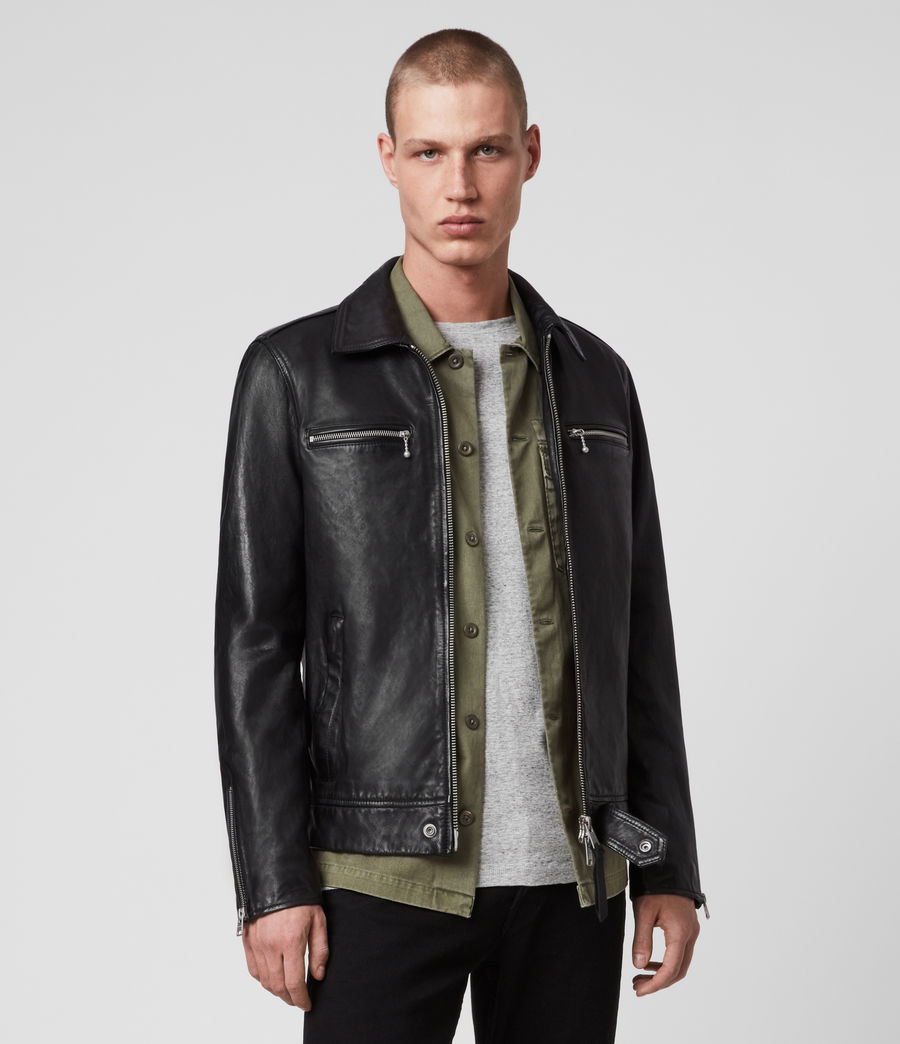 Men's Maya Leather Jacket (black) - Image 4