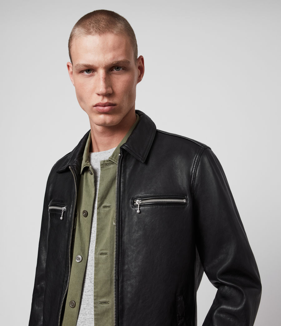 Mens Maya Leather Jacket (black) - Image 5