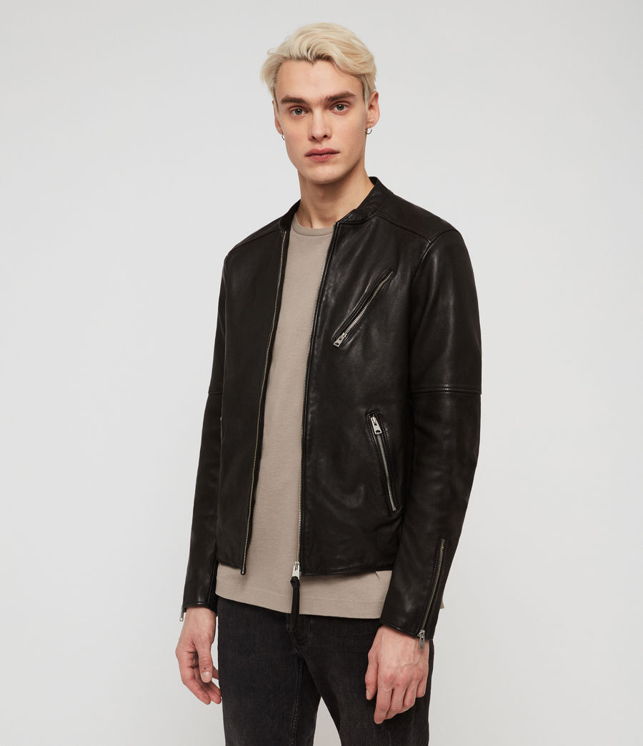 Mens Holbrooke Leather Jacket (black) - Image 3