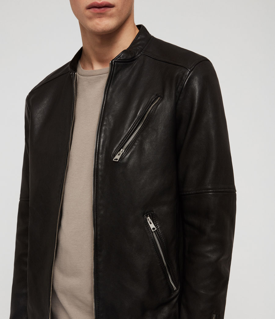 Mens Holbrooke Leather Jacket (black) - Image 4