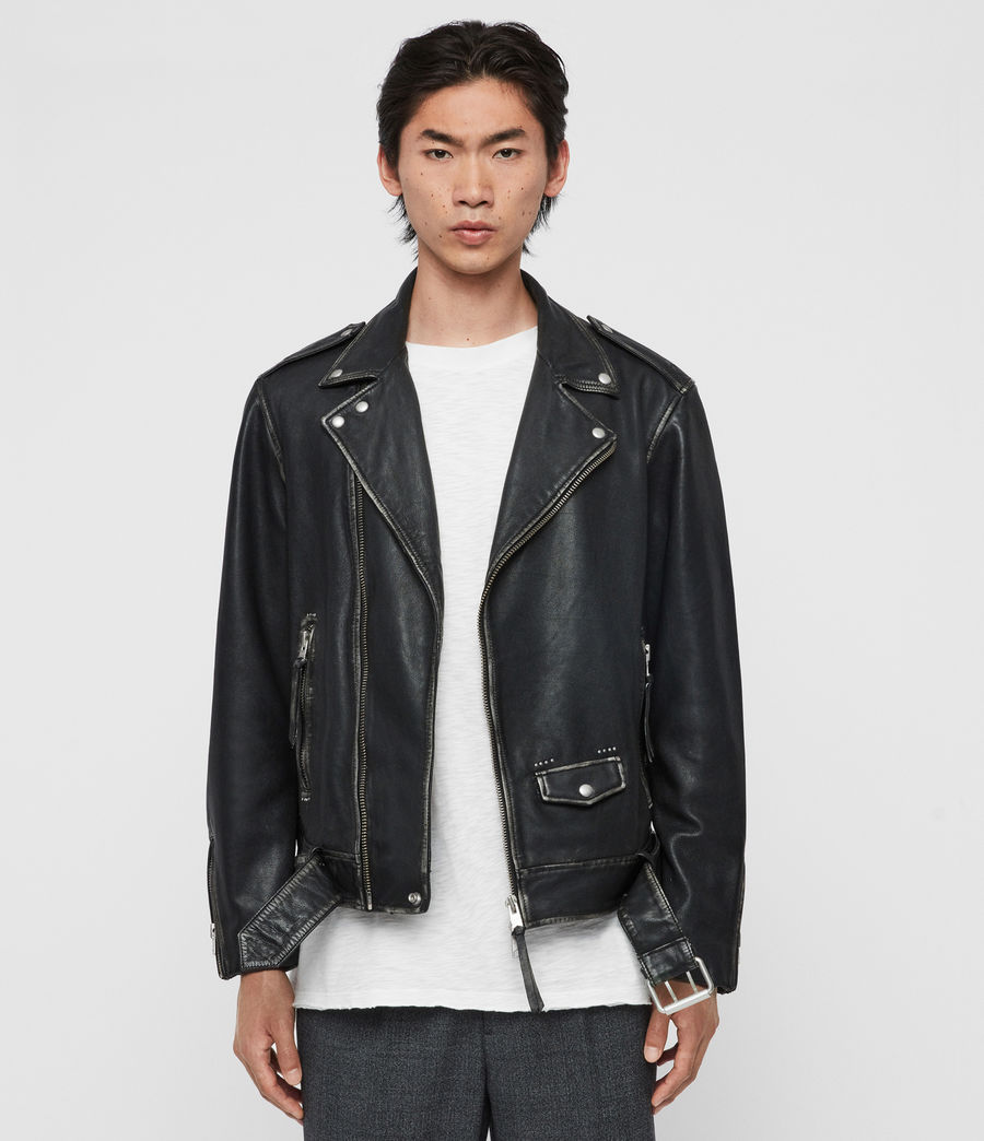 Mens Hawley Leather Biker Jacket (black) - Image 1
