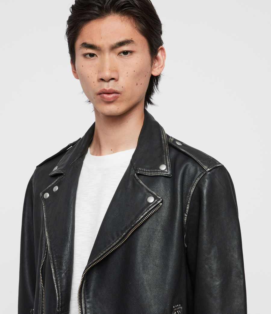 Mens Hawley Leather Biker Jacket (black) - Image 2