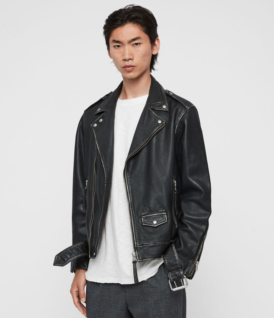 Mens Hawley Leather Biker Jacket (black) - Image 4