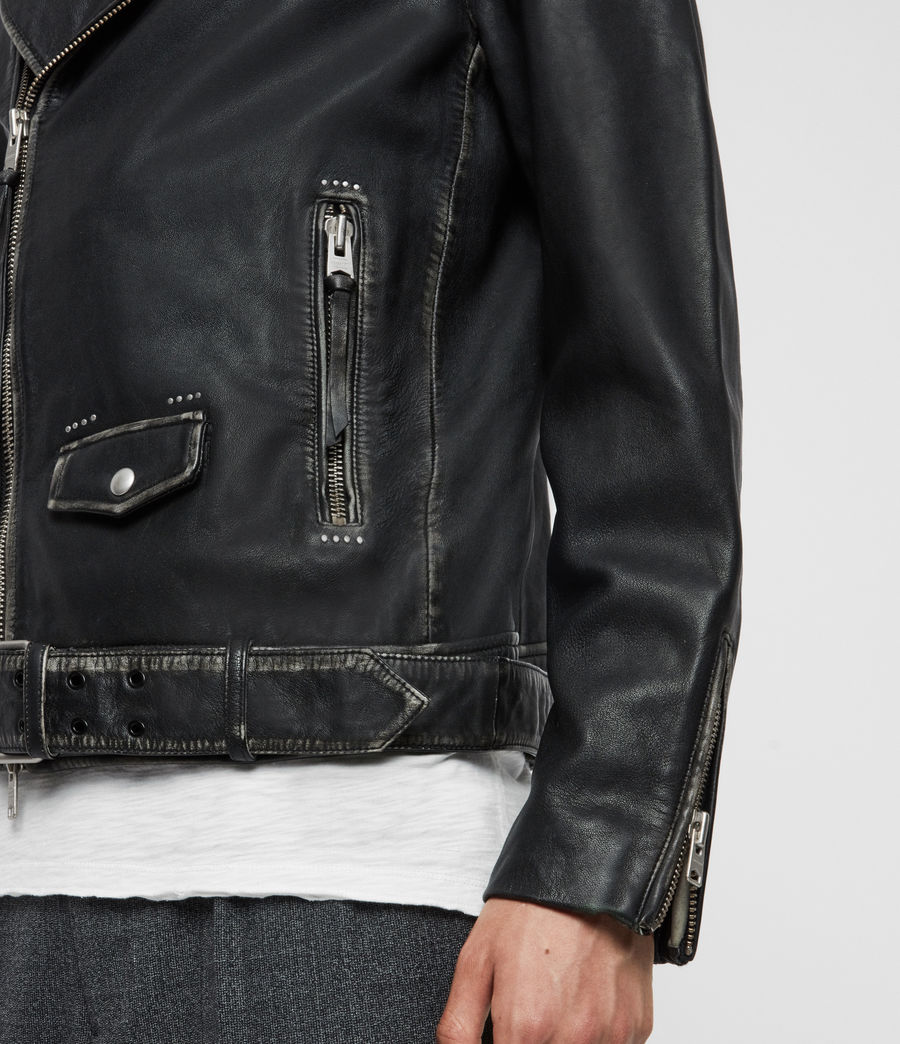 Mens Hawley Leather Biker Jacket (black) - Image 5