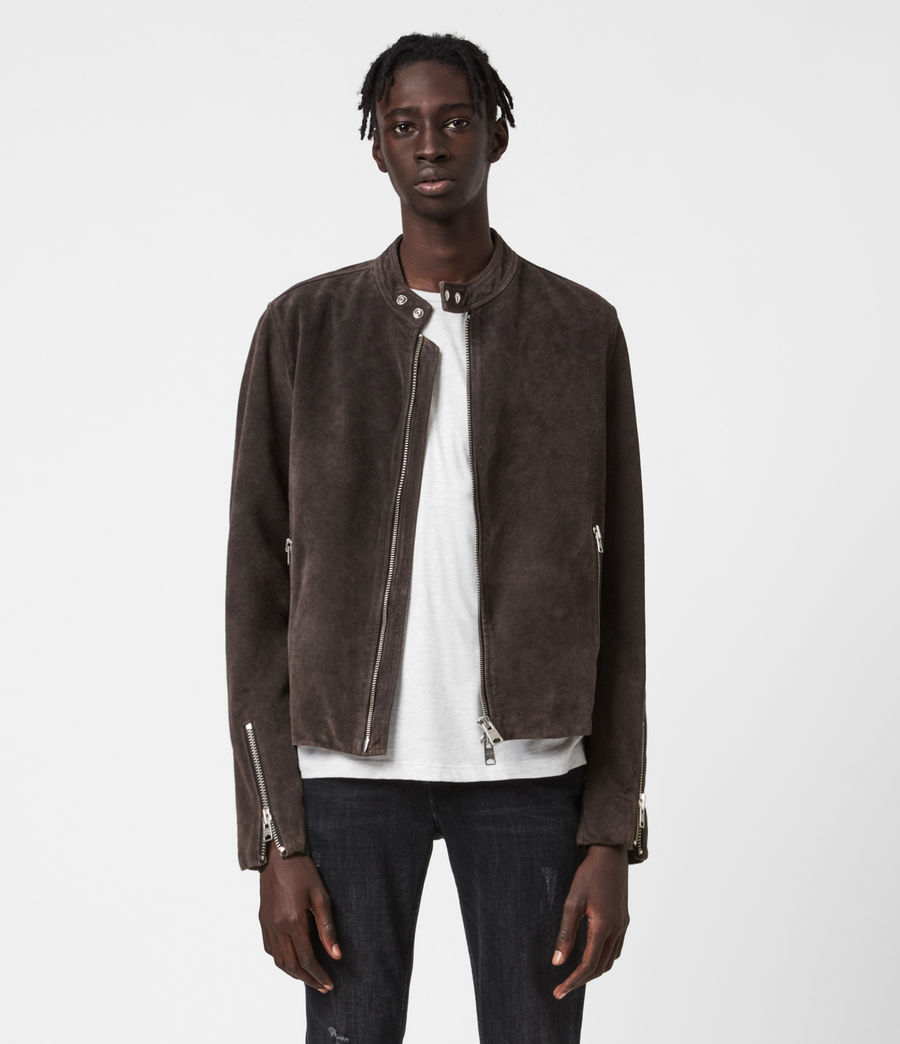 Mens Driver Suede Jacket (grey) - Image 1