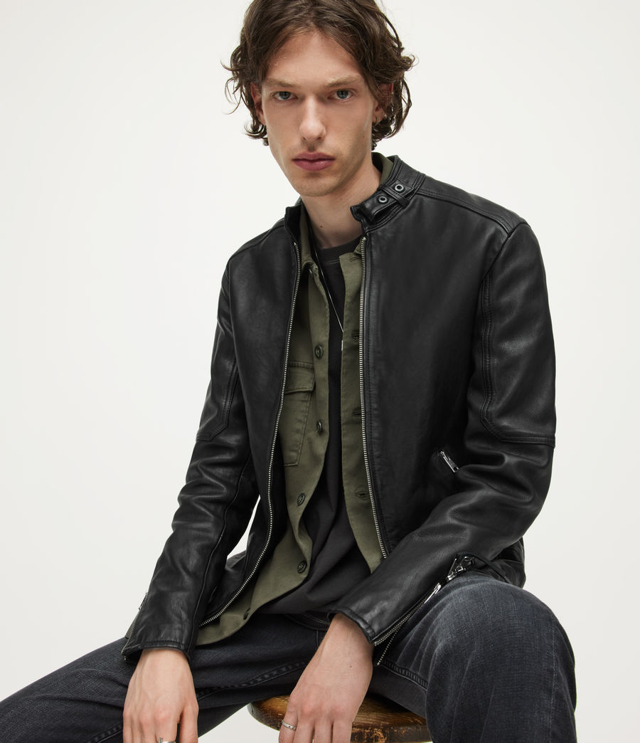 Mens Cora Leather Jacket (jet_black) - Image 1