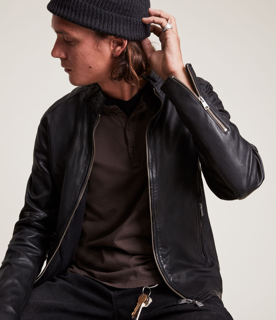 Mens Cora Leather Jacket (jet_black) - Image 2