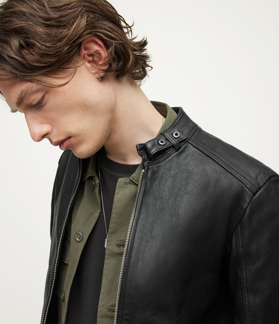 Men's Cora Leather Jacket (jet_black) - Image 2