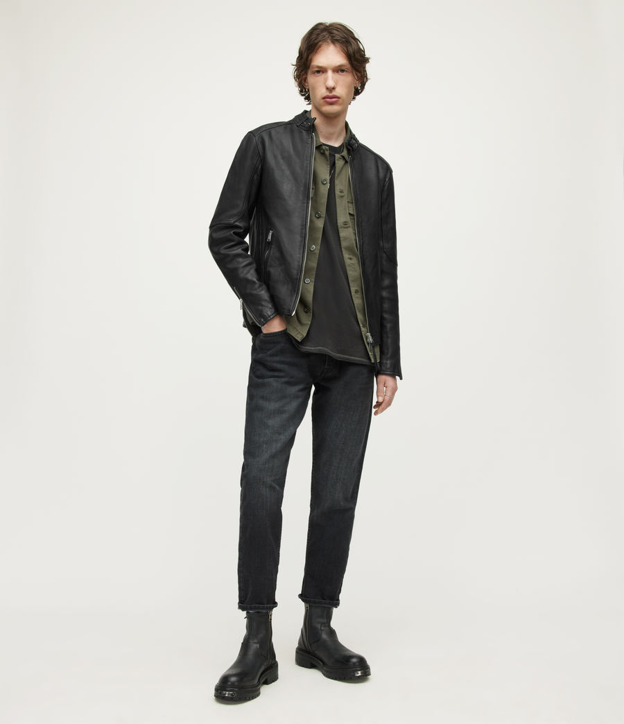 Mens Cora Leather Jacket (jet_black) - Image 3
