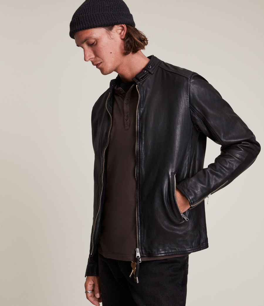 Men's Cora Leather Jacket (jet_black) - Image 3