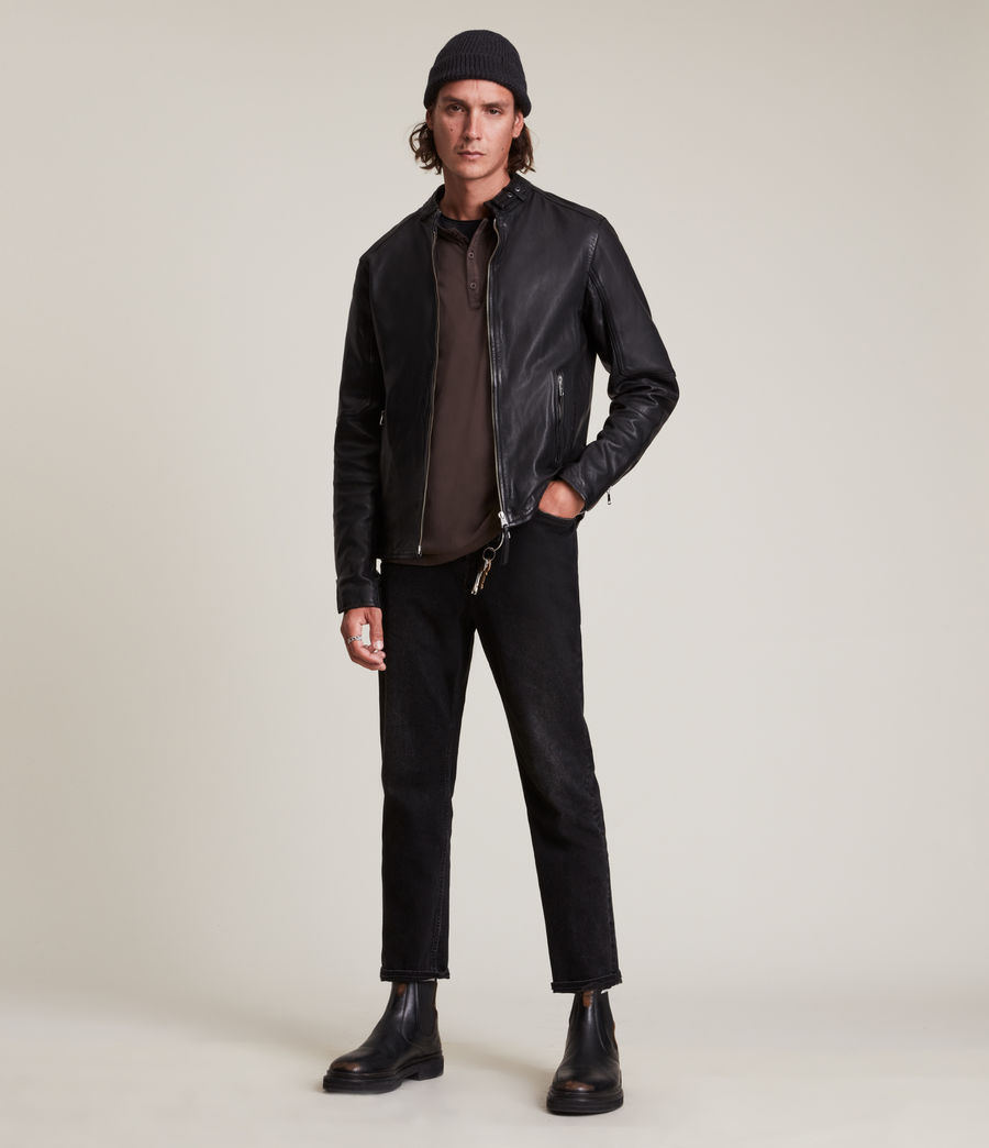 Men's Cora Leather Jacket (jet_black) - Image 4