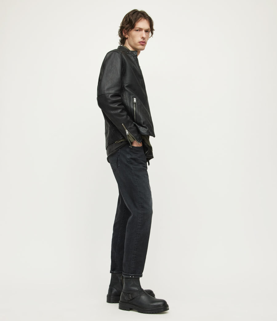 Mens Cora Leather Jacket (jet_black) - Image 4
